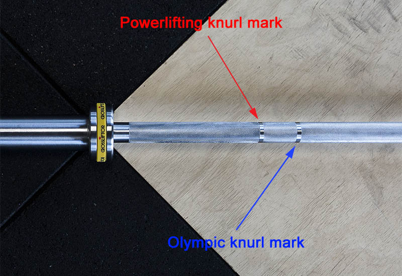 Barre olympique double marquage halterophilie powerlifting